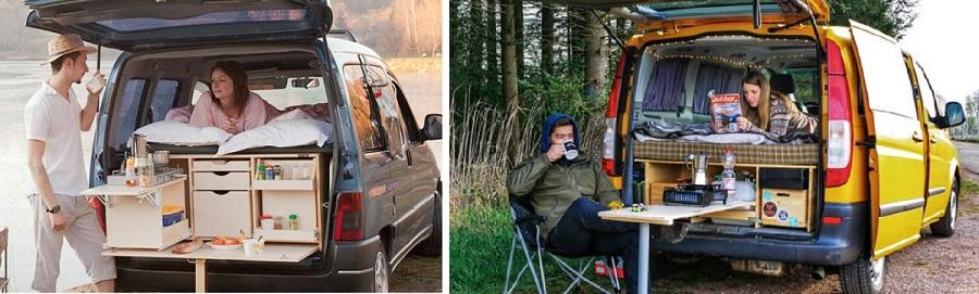 kit mini camper sin mesa interior